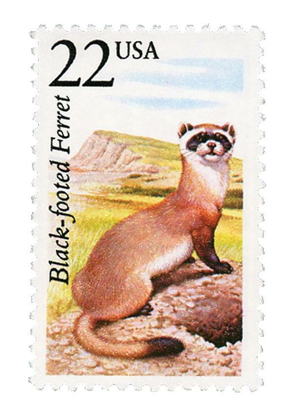 1987 22c Black-Footed Ferret, North American Wildlife S