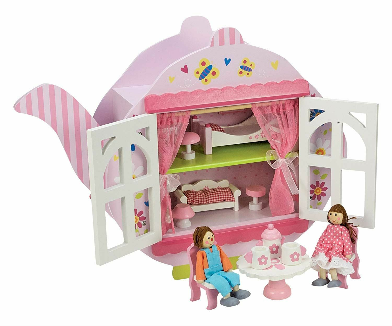 CASA di bambole in legno per tè-con Accessori bambola, mobili più