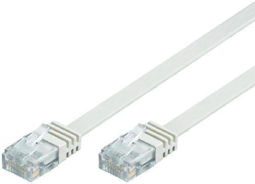Netzwerk Flachband Kabel Patchkabel CAT5e Weiss 10,0m