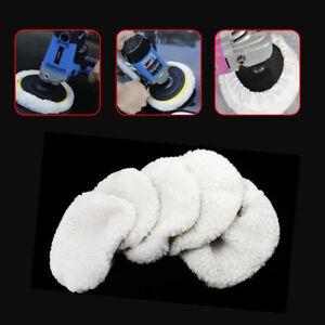 6Pcs Polishing Bonnet Buffer Pads White Soft Wool For Car Polisher 5-6 inch