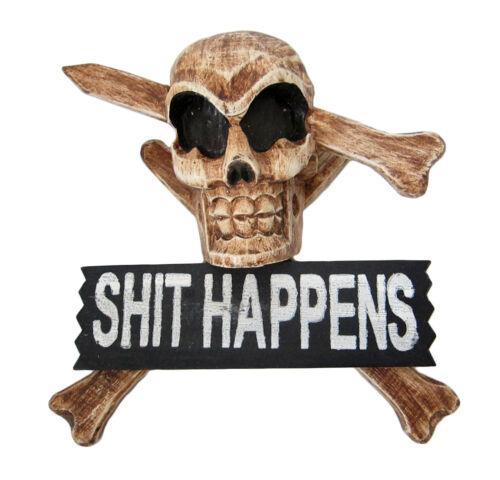 pirate teenage bedroom horror SH*T HAPPENS sign with SKULL /& BONES design