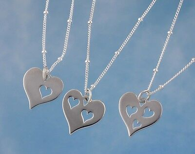 Love Necklace- Sterling Silver Heart Charm w/ 1, 2 or 3 heart cut outs- Family