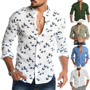 Men-039-s-Cotton-Linen-Long-Sleeve-Summer-Solid-Shirts-Casual-Loose-Dress-Soft-Tops