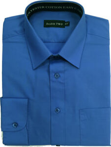 Double-Two-Plain-Speedwell-Blue-Shirt-With-Extra-Long-Sleeves-For-Tall-Men