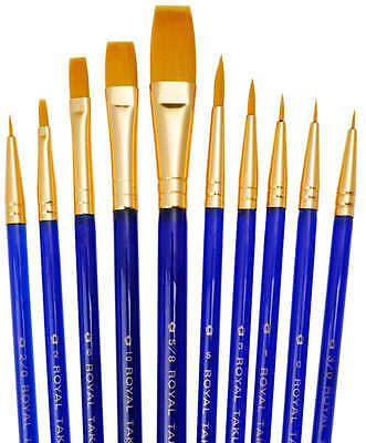 WATERCOLOUR & ACRYLIC FINE & SMALL DETAIL PAINT BRUSH SET ROUNDS & SHADER SVP1