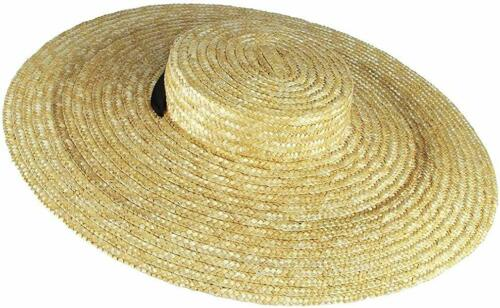 Women Vintage Boater Straw Hat Wide Brim Flat Top Floppy Sun Hats with Chin Stra
