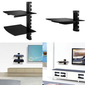 2 tier dual glass shelf wall mount under tv cable box component dvr rh ebay com tv glass shelf wall tv glass shelf