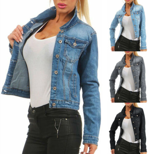 Ladies Girls Oversize Denim Jacket Short Slim Skinny Pocket Chain Collared Coats
