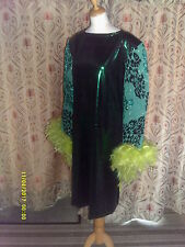 Drag Queen Green Foil SHORT dress with Lime green feathers 20/22