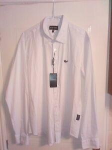 Men-039-s-Armani-white-Long-Sleeve-shirt-XXL-Regular-fit-brand-new
