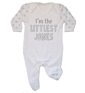 Personalised I/'m the Littlest Surname Baby Romper Hospital Outfit New Baby Star