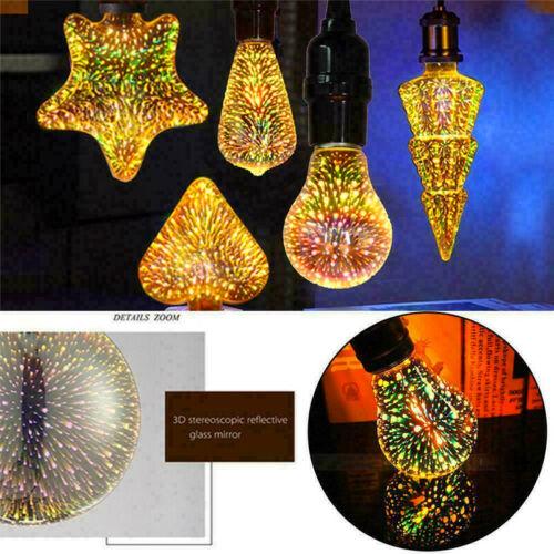 E27 LED Light Bulb 3D Fireworks Decorative Edison Party Lamp A60 ST64 G80 G125