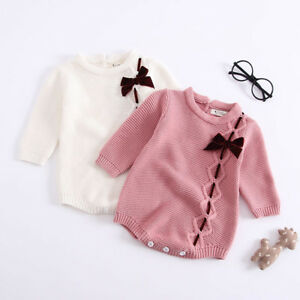 06608a47a54 Infant Newborn Baby Girl Bow Knit Romper Bodysuit Crochet Clothes ...