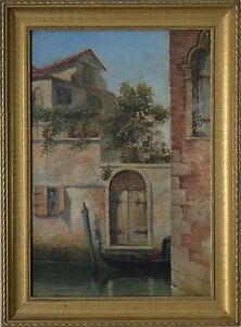 British-Herbert-John-Finn-1860-1942-Oil-A-Venetian-Scene-of-a-Gondola-on-River