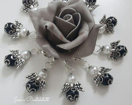 Gastgeschenk 10 Schutzengel in schwarz mit Perlenkappen Hochzeit Taufe,