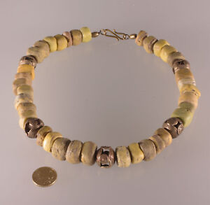 7331-Necklace-ancient-Hebron-1820-1900-Glass-trade-beads-Akan-bronze