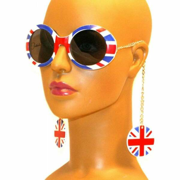 Gafas De Sol Cadena Pendiente De Unión Jack-ver