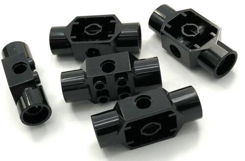 Lego 5 New Black Technic Bricks Modified 2 x 2 with Pin Holes 2 Rotation Parts