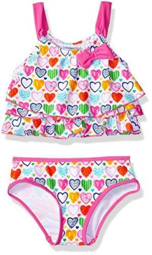 Kiko /& Max Girls Ruffle Top Bikini Swimsuit Size 2T 3T 4T 4 5 6 6X