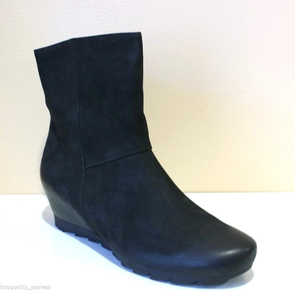 365 Paul Green Gage Black Nubuck Leather Zip Ankle Boots Womens 7 NEW IN BOX
