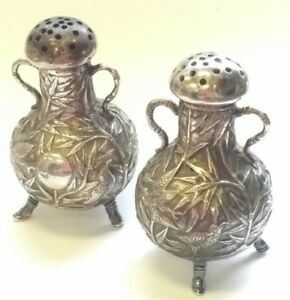 Antique CUMSHING Canton Silver Salt and Pepper Shakers with Bird Design