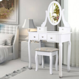 Elegant-Blanc-Coiffeuse-5-Tiroirs-en-kit-Tabouret-amp-Coussin-Miroir-Pivotant