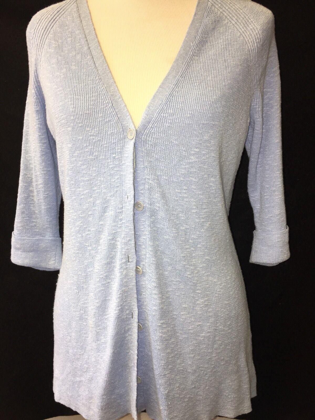 Eileen Fisher Button Front Cardigan bluee Linen Blend Tunic 3 4 Sleeve Textured