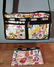 LeSportsac Hawaii Aloha Theme Zippered Bag Pineapple Medium Crossbody Bag!