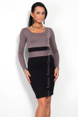 Jolie robe femme à rayures col boule manches longues en jersey moulante Taille 8-18 8058