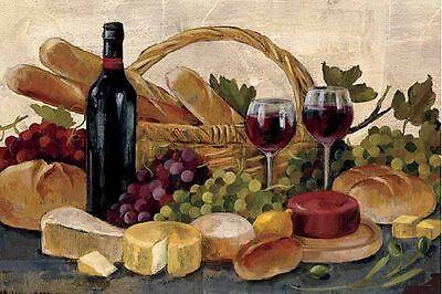 Tuscan Evening Wine Keilrahmen-Bild Leinwand Wein Käse Küche Silvia Vassileva
