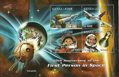 Sierra Leone 2011 MNH First Person Space 50th Anniv 4v Sheetlet II Yuri Gagarin