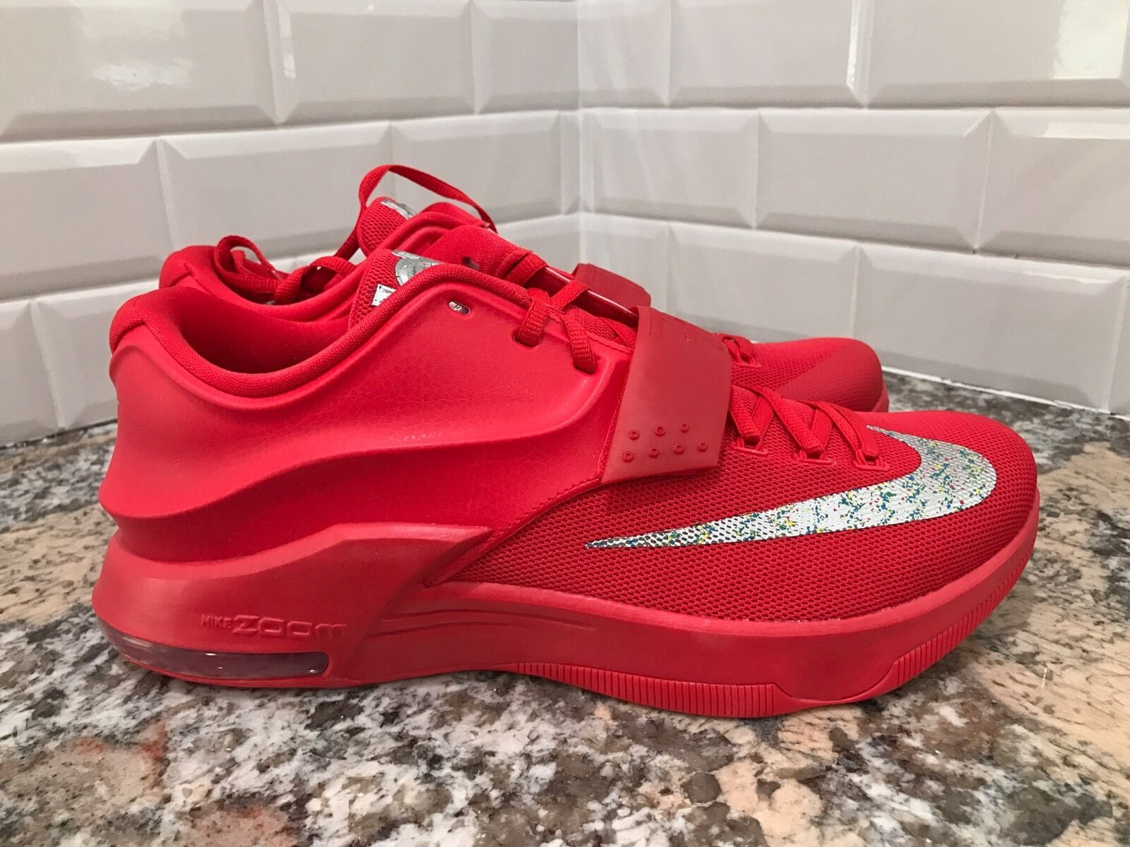 Nike KD 7 VII Global Game Action Red Metallic Silver Men SZ 11.5 653996-660