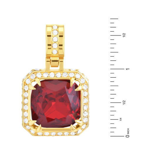 """Men/'s Iced 14k Gold Plated Red Ruby CZ Pendant 24/"""" Chain Necklace KC 7966 GRD"""