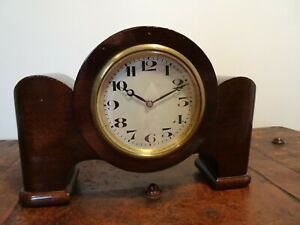 Antique Fabrique d'Horlogerie de Fontainemelon FHF Swiss Mahogany Mantel Clock