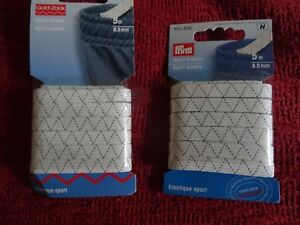 2 Packs Blanc Sport élastique - 5 Mètres X 8.5 Mm-afficher Le Titre D'origine