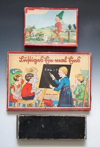 KONVOLUT-Puzzle-Lustiges-Einmaleins-Karton-mit-3-MIKADO-um-1920-1955