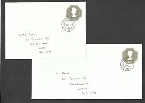 First-Day-Covers-1981-Stationery-QEII-111-2p-Envelopes-size-N-amp-Q-DL-EP137-amp-138
