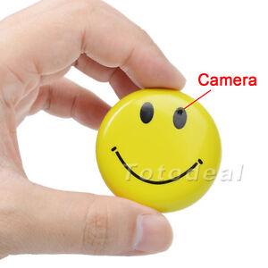Smile Face Badge Mini DV HD CCTV Spy Camera DVR Nanny Cam Hidden ...