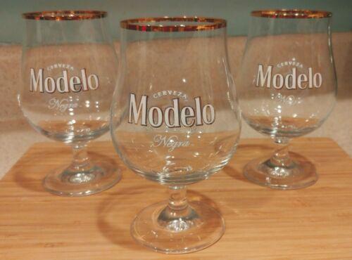 Modelo Negra Cerveza Tall Snifter Gold Rim Beer Glass 40cl Brand New FREE Ship!