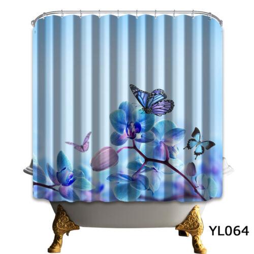 "72//79/""Bath Fabric Shower Curtain-Butterfly Flower Blue Scenic-Mat Rug/&12Hook 064"