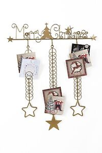 Gold silver over door christmas card holder tidy for Door xmas card holders