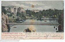 Frankfurt AK 1903 Mondschein Drahtseilbrücke Palmengarten Teich Hessen 1602305