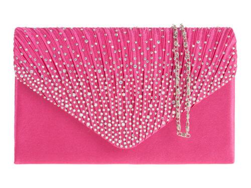 Ladies Satin Envelope Clutch Bag Girls Diamante Prom Evening Bag Handbag K41074
