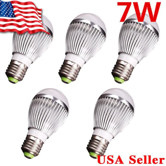 5 X 12V High Power LED Lamp Bulb - E27 E26 7W White Light Energy Saving
