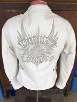 Harley Davidson Wind Crest Perforated White Leather Jacket 97138-09vw Xs Women