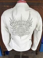 Harley Davidson Wind Crest Perforated White Leather Jacket 97138-09VW  XS Women