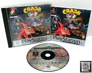 Crash-Nasenbeutler-2-Playstation-ps1-Platinum-Spiel-PAL-ausgezeichnete-CIB