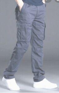 Para-Hombre-De-Carga-Combate-Pantalon-Chino-De-Algodon-Pantalones-De-Trabajo-Work-Wear-Jeans-Tamano