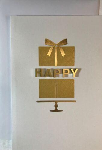 Happy Birthday Card w// 3D word HAPPY in GOLD  by Hallmark Signature