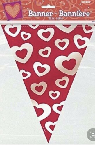 Red /& White Heart Bunting 12ft 3.65 Metres Valentine Love